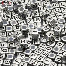 100/200/300/400/500 pces cor de prata carta mista contas acrílicas contas do alfabeto quadrado para fazer jóias diy pulseira colar