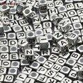 Акриловые бусины 6*6 мм, серебристые Смешанные Буквы, Квадратные бусины алфавита для изготовления ювелирных изделий, браслетов, ожерелий сво...