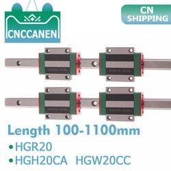 2 шт. HGR20 HGH20 квадратный линейный направляющий рельс любой длины + 4 шт. скользящий блок каретки HGH20CA/Flang HGW20CC ЧПУ Запчасти для гравировки
