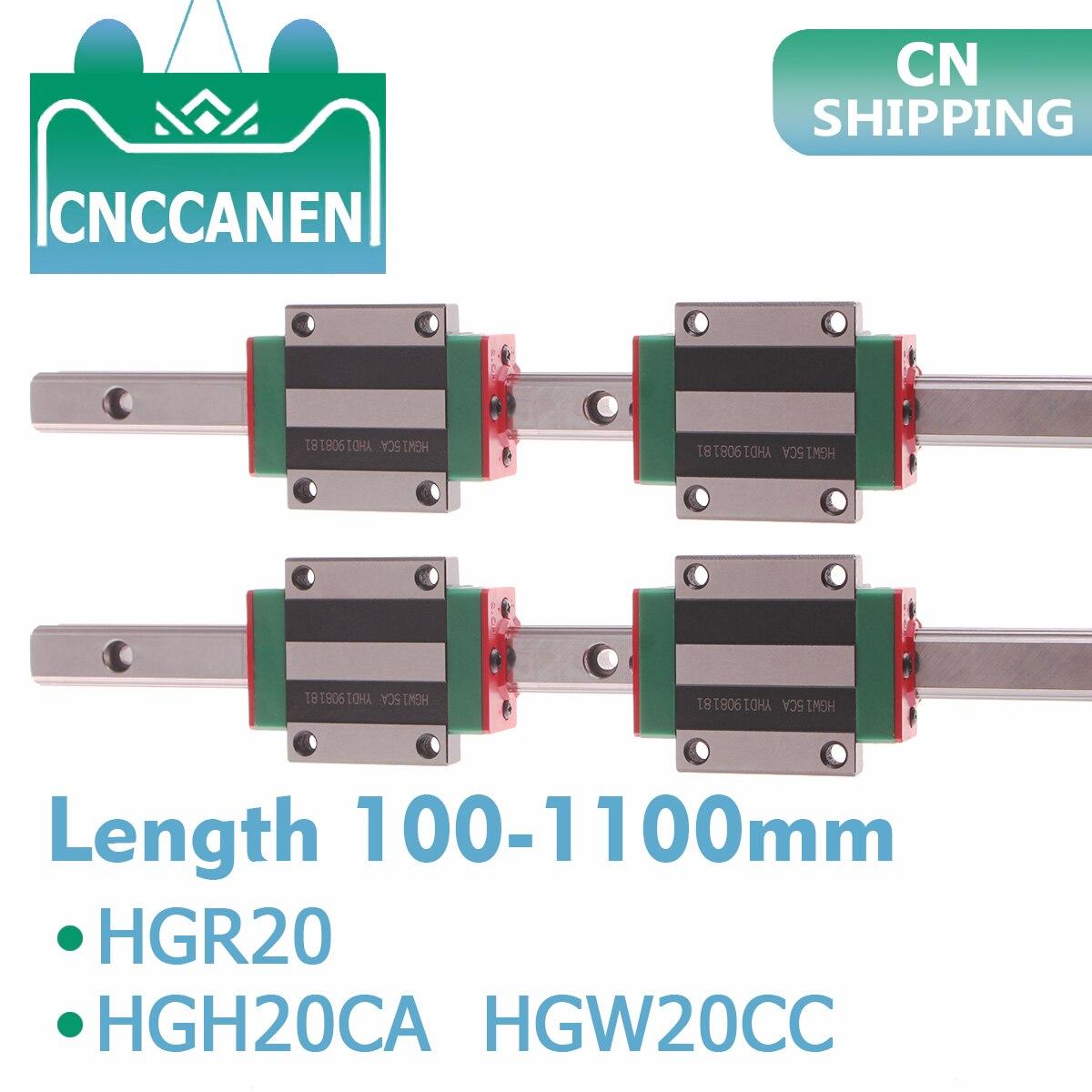 2 Pcs HGR20 HGH20 Vierkante Lineaire Geleiderail Elke Lengte + 4 Stuks Schuif Blok Vervoer HGH20CA/Flang HGW20CC cnc Parts Router Graveren