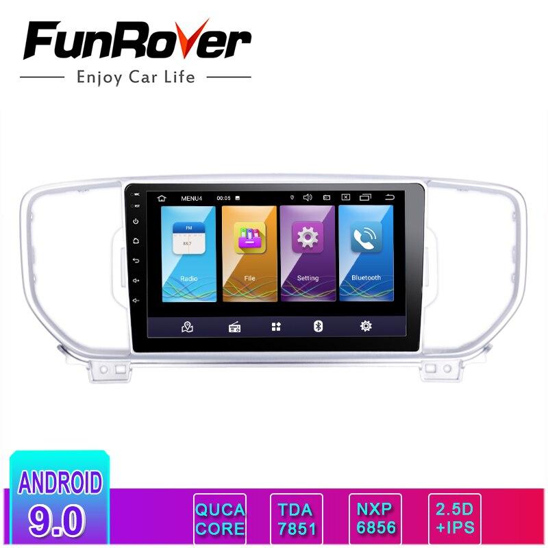 Lecteur multimédia dvd de voiture Funrover android9.0 IPS + 2.5D auto radio pour KIA sportage 2016 2017 kx5 navigation stéréo headunit gps