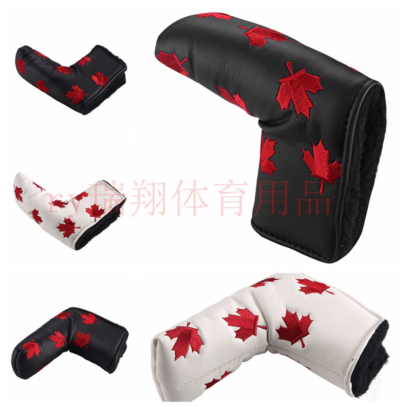 Hot Sales Golf Push Rod Case Exquisite Maple Leaf Pattern Embroidered Velcro Buckle Thick Fit Protection