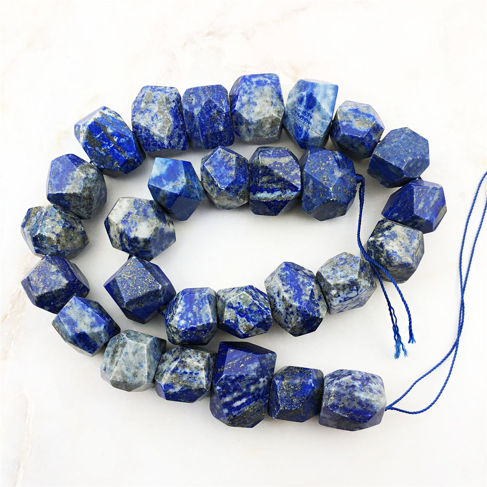 """Natural Blue Lapis Lazuli+Pyrite Rondelle Faceted Beaded Gemstone Necklace 18/"""""""