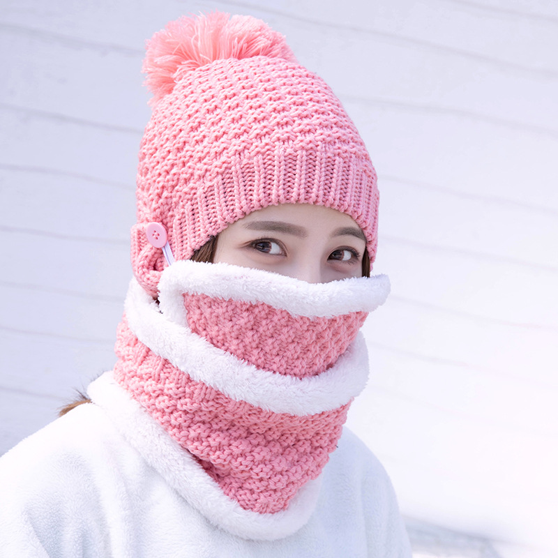 Hat, Neck, Mask, Cap And Wool Cap Korean Version Sweet And Lovely Lady Knitted Cap For Keeping Warm In Autumn And Winter