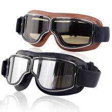 Universal Vintage Motorcycle Goggles Motorbike Scooter Biker Black brown Windproof dustproof Glasses Helmet Goggles Foldable