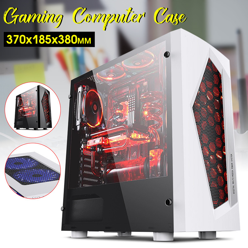 LEORY V3 ATX Computer Gaming PC Case 8 Fan Ports USB 3.0 For M-ATX/Mini ITX Motherboard Black/White 370 x 185 x 380mm