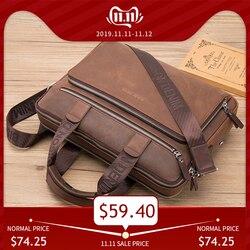 BISON DENIM Marke Aktentasche Satchel Taschen Aus Echtem leder 14 Laptop Handtasche Business Crossbody Schulter Taschen N2333-3