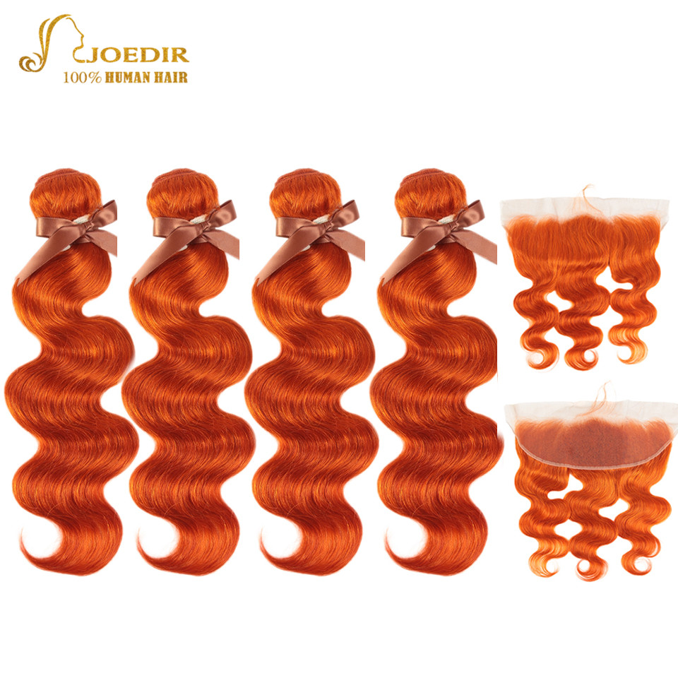 Joedir Hair Lace Frontal With Bundles Brazilian Body Wave Hair With Lace Frontal Orange Red Remy Hair Bundles With Frontal