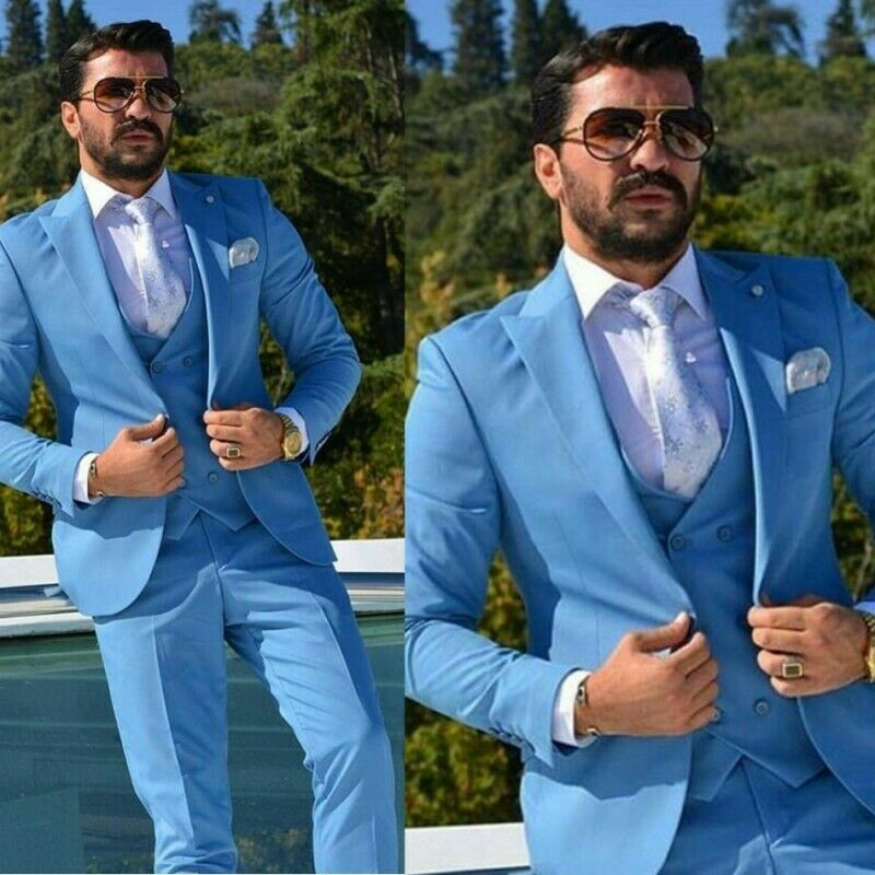 Wedding Men S Dresses Suit Light Blue Suits For Groom Wedding Wear