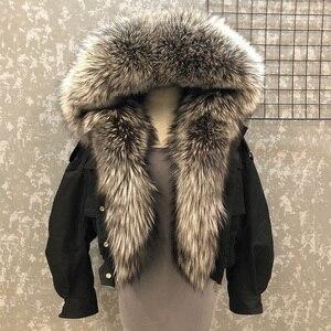 Image 2 - Abrigo de piel de zorro a la moda para mujer, forro desmontable, línea de piel de cordero de alta calidad, cazadora de estilo corto S7652