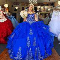 Royal Blue Beaded Crystals Off the Shoulder Quinceanera Prom Dresses Sweetheart Lace Ball Gown Tulle Evening Party Sweet 16 Dres