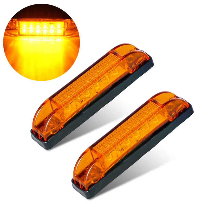 2PCS 12V Side Marker Light Amber 6 LED Marker Light Truck Boat Trailer Indicators Light Lamp LED Side Marker Light Trailer