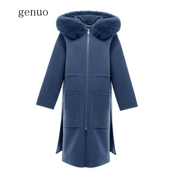 raposa capa cashmere lã misturas longo outerwear n1158