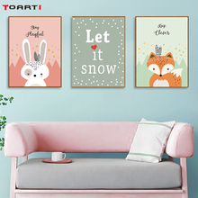 Cartoon Tribe Woodland Animal Poster & Prints  Rabbit Bear Fox Canvas Painting On The Wall Picture For Kid Bedroom Home Decor