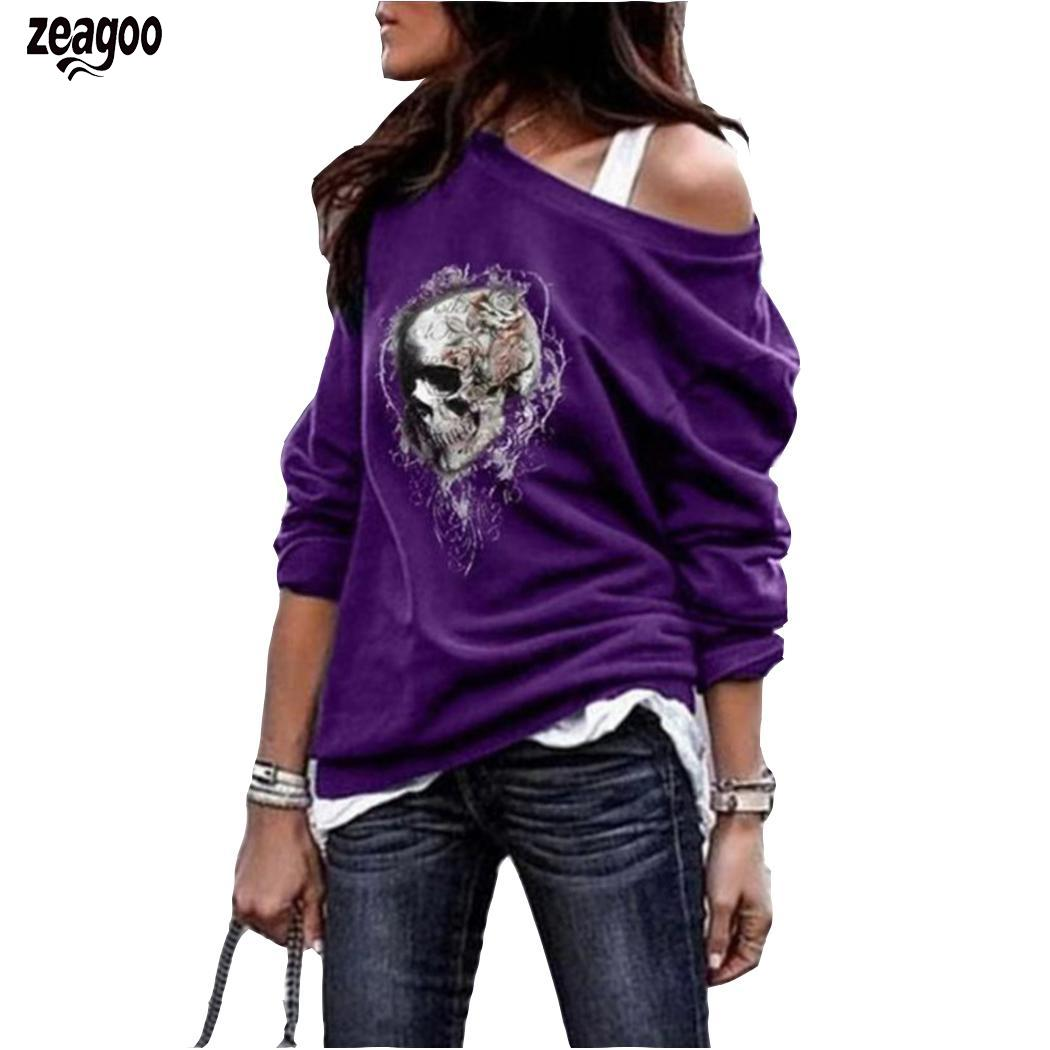 Women Fashion Skull Printed Slash Neck Long Slim Sleeve Casual T-shirt Pullover Casual Top Autumn