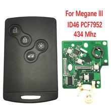 Klucz do kart samochodowych Datong World dla Renault Megane 3 Koleos 7952 Chip 433Mhz 4 przycisk dostęp bezkluczykowy zdalnie sterowany kluczyk do auta