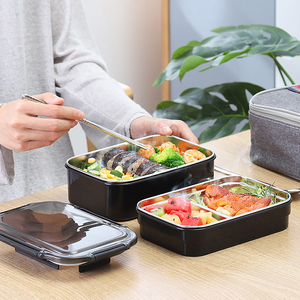 ONEUP 304 Stainless Steel Lunch Box For Kid New Two-layers Bento Box For Student Food Container With Tableware Lunch Bag Kitchen