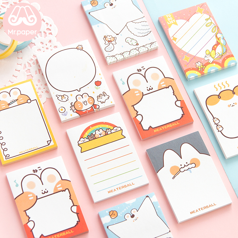 Mr Paper 30pcs/lot Cute Mini Meaterball Loose Leaf Memo Pads Colorful Cartoon Kitten Write Down Points Memo Pads Children Gifts