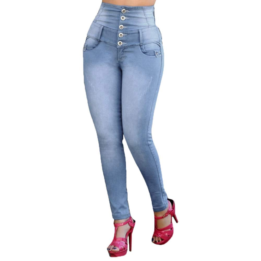 Women Fashion High Waist Sexy Street Style Five Buttons Wide Waist Large Size Tights Ripped Pencil Denim Pants S-3XL