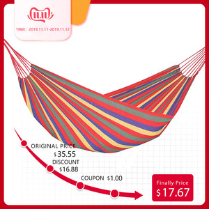 Image 1 - Double Wide Thick Canvas Hammock With Two Strap And One Carry Bag Portable Anti Tear Hamac For Outdoor Backpacking Hanging Hamak