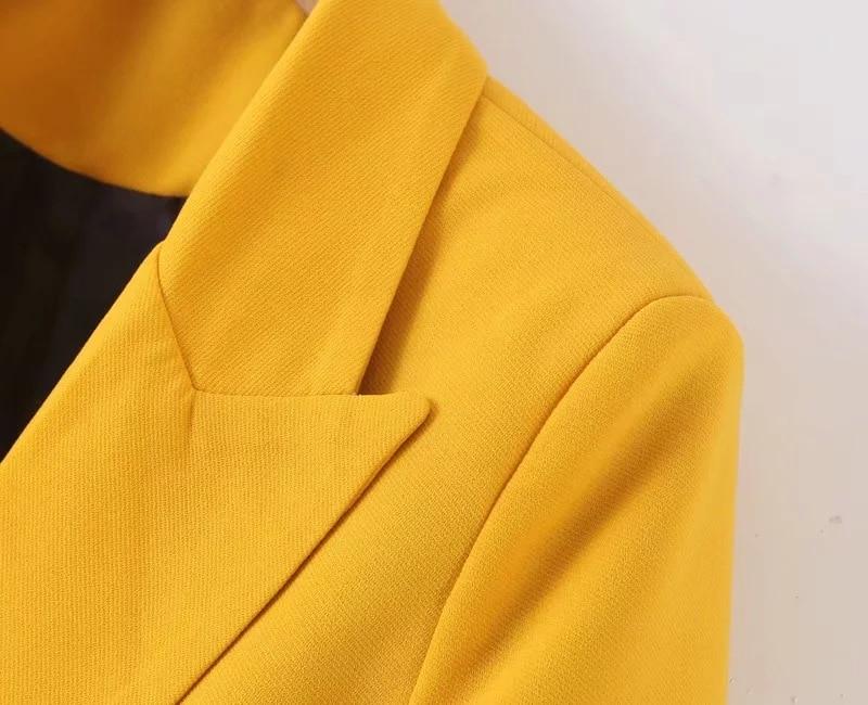 Temperament women's jacket 2019 early autumn new double-breasted yellow ladies blazer Elegant office jacket Women's suit