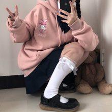 Anime impressão hoodie feminino manga comprida bonito impressão mais veludo moletom feminino inverno kawaii moda zip up hoodie feminino