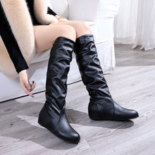 Winter Dames laarzen Vrouwen Lente Herfst Grote maat Lange Pu Soft Leather Motorcycle Boot Schoenen Lady Party Ontwerp Wedge Laarzen(China)