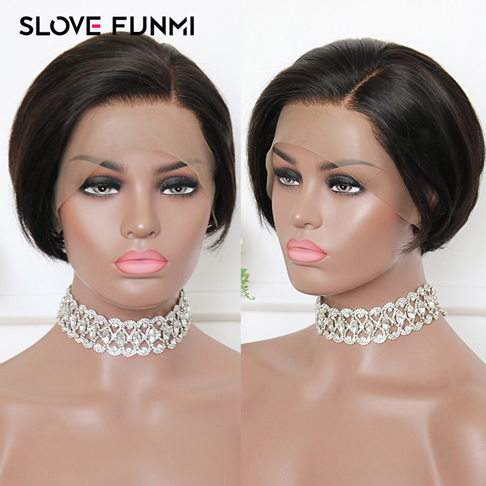 Slove Funmi 13 4 Lace Front Human Hair Wigs for Black Women Remy Hair Pixie Cut