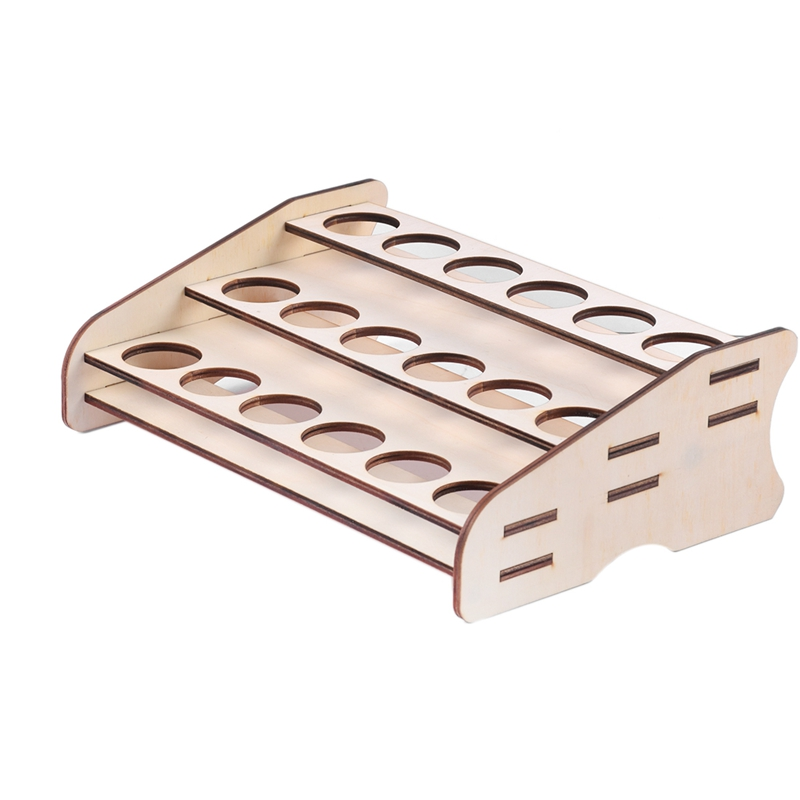 ABSS-18 Hole Wooden Pigment Bottles Storage Organizer Color Paints Stand Rack Holder Drawing Storage Tool(Aperture 36Mm)