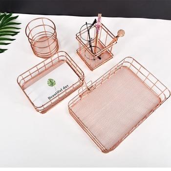 4Pcs/Set Metal Storage Basket Rose Gold Wire Mesh Storage Box Desktop Organizer For Cosmetic Storage Office Supplies