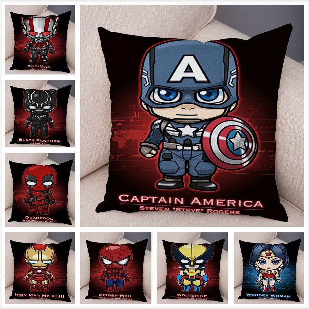 Cartoon Marvel Superhero Avengers Iron Man Super Man Pillow Case Plush Decor Cushion Cover For Sofa Car Home Pillowcase 45x45cm