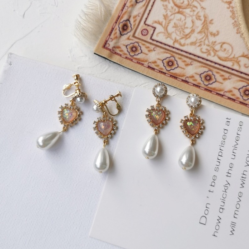French Style Temperament Vintage Rhinestones Imitation Pearl Love Clip Earrings Graceful Exquisite Ladies Jewelry Accessories