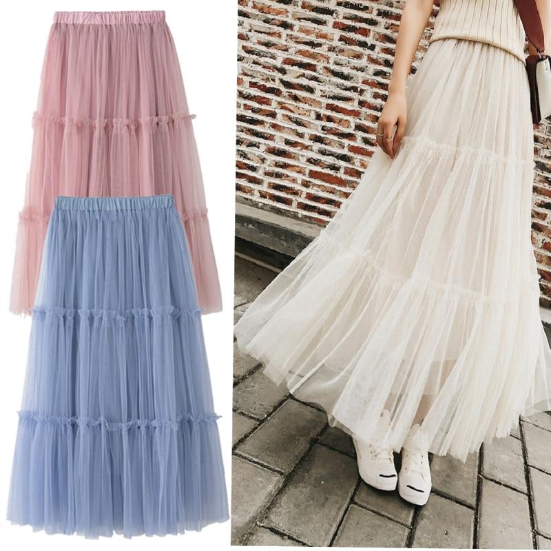 Goocheer Tulle Skirts Womens Midi Pleated Skirt Star Sequin Irregular Women Korean Elastic High Waist Mesh Tutu