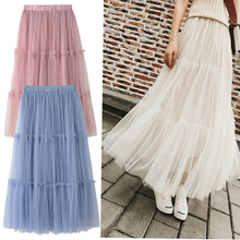 Goocheer Tulle Skirts Womens Midi Pleated Skirt Star Sequin Irregular Women Korean Elastic High Waist Mesh Tutu