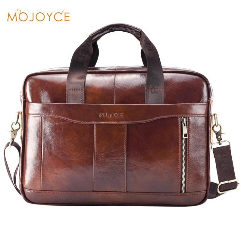 Genuine Leather Briefcase Male Man Laptop Bag Natural Leather For Messenger Bag Laptop Shoulder Crossbody Bag Office Handbag