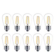 10 pçs/lote 2 w 4 s14 lâmpadas led branco quente 2700 k e27 led filamento lâmpada para jardim ao ar livre à prova dwaterproof água luzes da corda