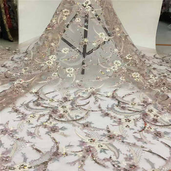 Free shipping (5yards / pc) luxury shining African tulle lace fabric French lace with lots of sequins for dress purple