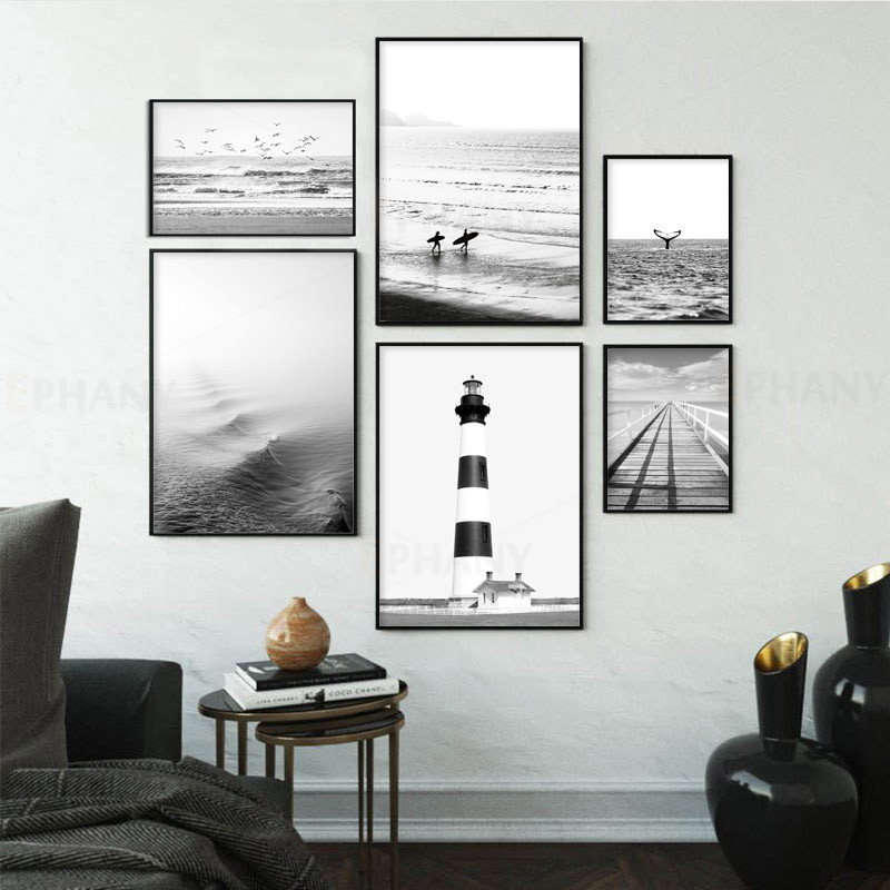 Beach Print Surf Art Boho Decor Retro Black and White California Ocean Posters and Prints Modern Living Room Decorative Pictures