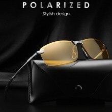 Night Vision Glasses Men Polarized Sunglasses for Unisex Polaroid Goggles Reduce Glare Rays Rimless Yellow Driving Sunglasses