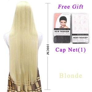 Image 2 - Pageup 100 センチメートルロングストレートかつら前髪耐熱人工毛女性のための赤茶色ブロンドウィッグ