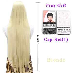 Image 2 - Pageup 100cm Long Straight Wigs With Bangs Heat Resistant Synthetic Hair For Women Red Brown Blonde Cosplay Wigs
