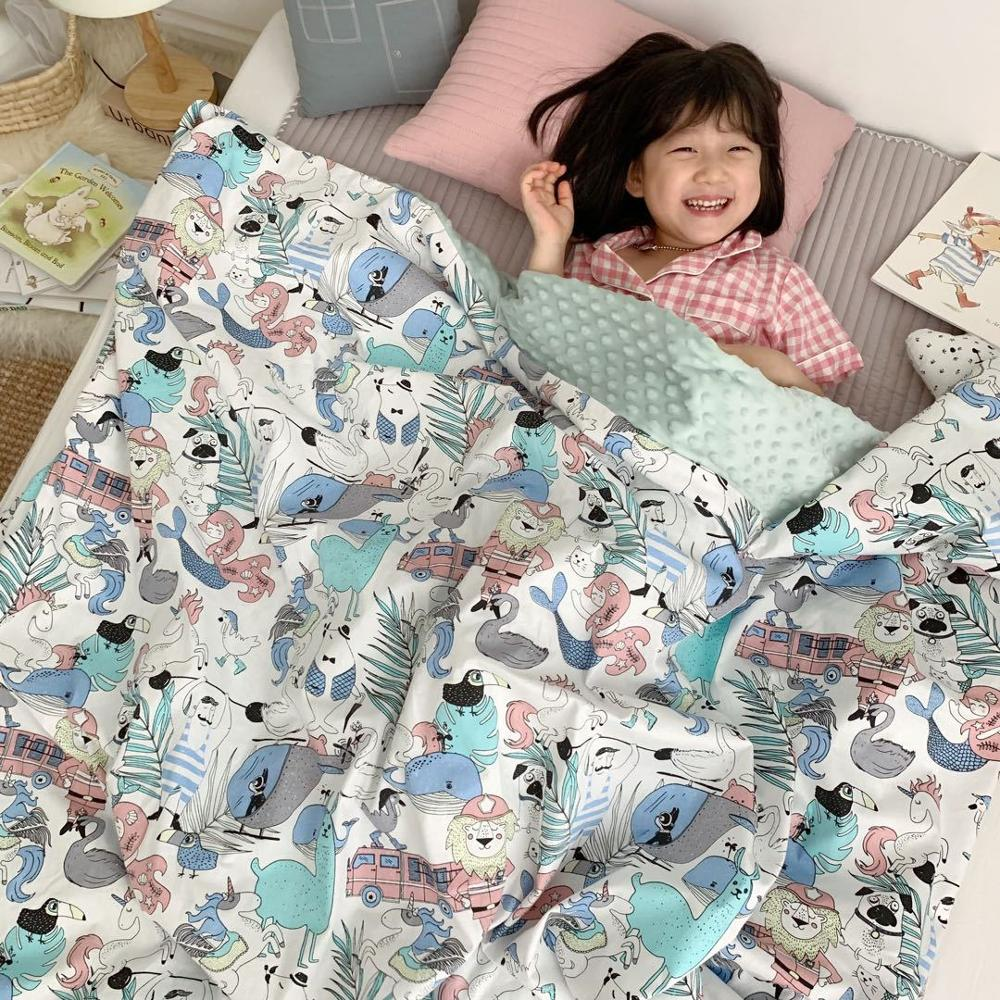 Baby Cotton Thick Super Soft Flannel Blanket Newborn Toddler Minky Baby Blanket Stripped Swaddle Wrap Bedding Covers Bubbles