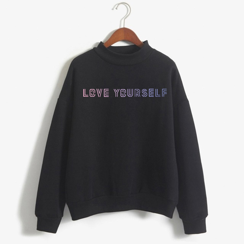 2019 Fake Love Hoody KPOP Harajuku Sweatshirt Ladies Casual Long Sleeve Loveyouself Inspiration Sweatshirt Hoodie Top