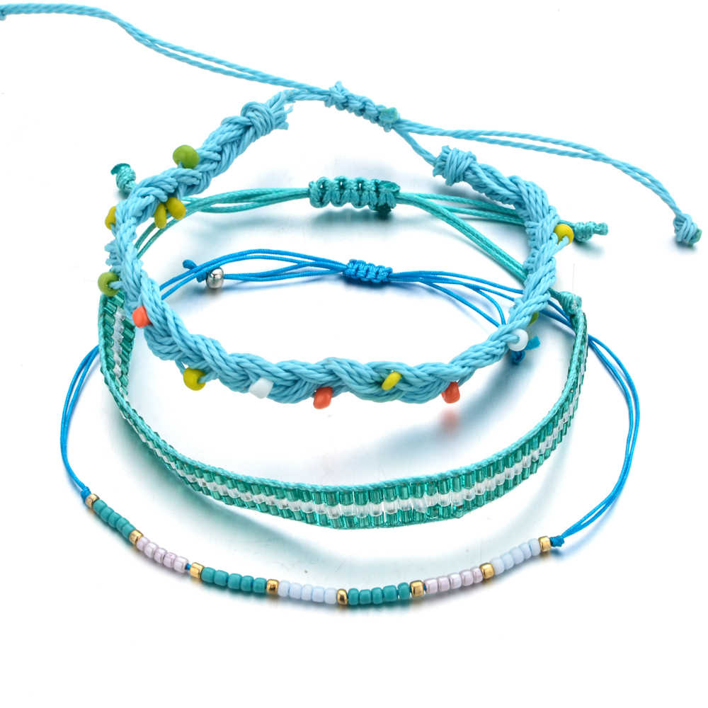Bohemian Handmade Woven Rope Chain Bracelet Set Tiny Seed Beads Pearls Charms Bracelet for Women Girls Cuff Adjustable Jewelry