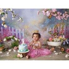 Fotografia de vinil backdrops rosa flores primavera bokeh foto fundo do chuveiro do bebê decorações photocall fundo adereços