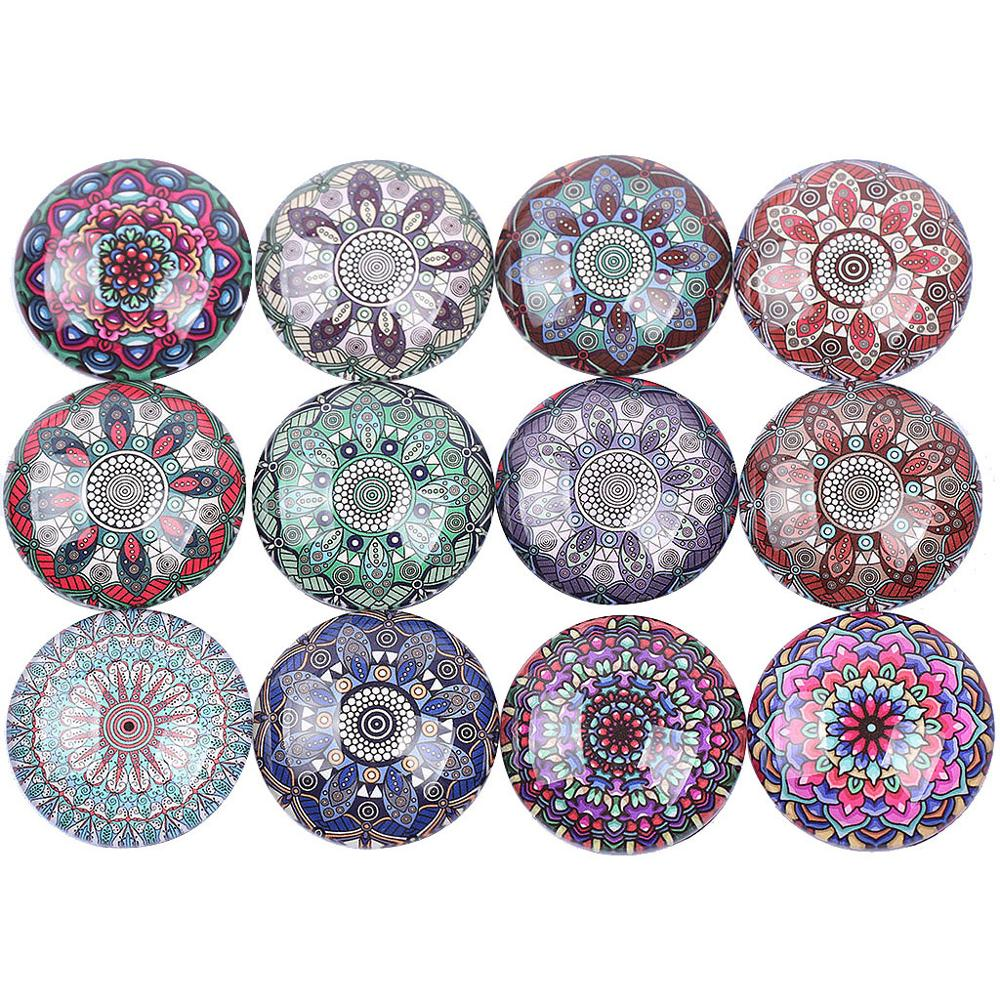 Reidgaller Kaleidoscope Pattern Cabochon Mixed Photo Glass 12mm 20mm 25mm Diy Scrapbooking Crafts Making For Jewelry(China)