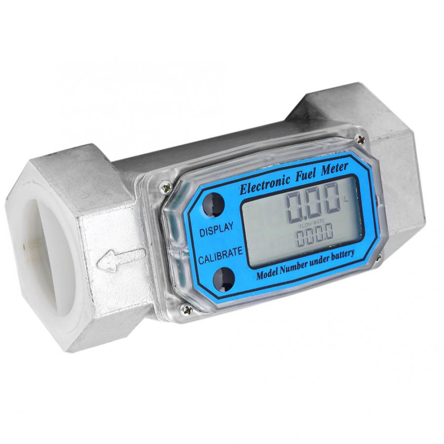 Mini Digital Turbine Flowmeter Diesel Kerosene Gasoline Fuel Flow Meter 15-120L 1.5inch NPT Blue