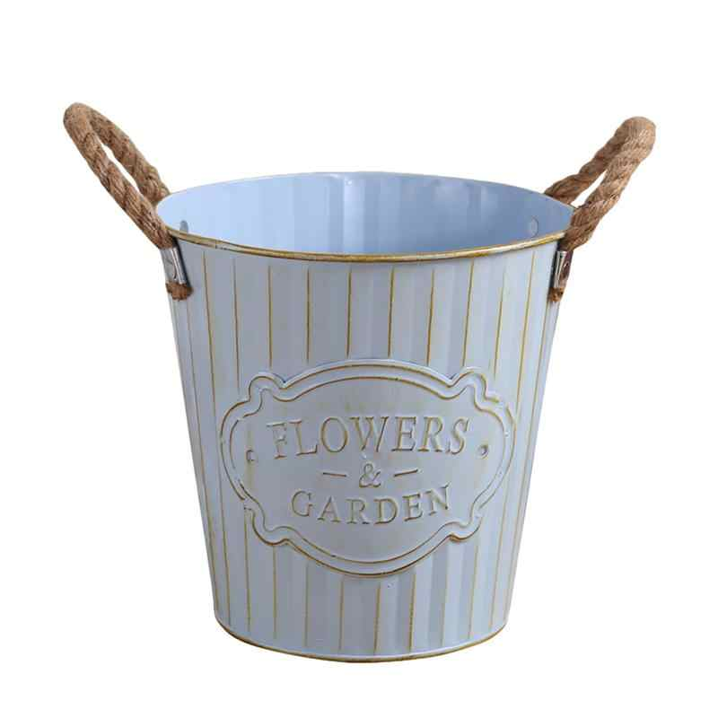 Hause Blumentopf Eimer Decor Blume Shop Metall Eimer Eisen Hanf Seil Blume Eimer Desktop Blumentopf Schmuck (Große größe)