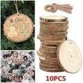 10pc Blank Weihnachten Weihnachten Baum Holz Log Scheiben Discs Ausschnitt Kreis Holz Scheiben Handwerk Weihnachten Baum Dekoration Schneemann Ornamente