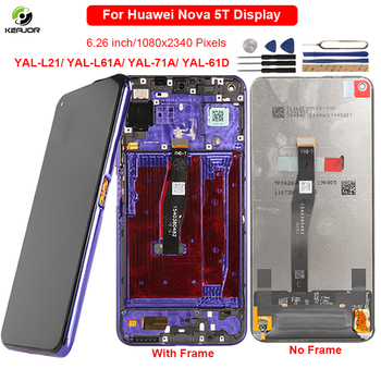 6.26 Display For Huawei Nova 5T LCD Display Touch Screen With Frame Digitizer Replacement For Huawei Nova5T 5T Display YAL-L21 huawei original nova 2 lcd display touch screen digitizer for huawei nova2 display with frame replacement pic al00 pic tl00